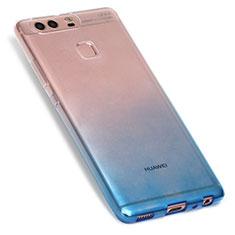 Silikon Hülle Handyhülle Ultra Dünn Schutzhülle Durchsichtig Farbverlauf G01 für Huawei P9 Blau