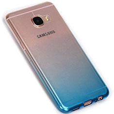 Silikon Hülle Handyhülle Ultra Dünn Schutzhülle Durchsichtig Farbverlauf G01 für Samsung Galaxy C7 SM-C7000 Blau