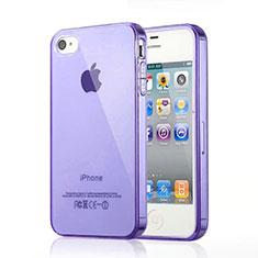 Silikon Hülle Handyhülle Ultra Dünn Schutzhülle Durchsichtig Transparent für Apple iPhone 4 Violett