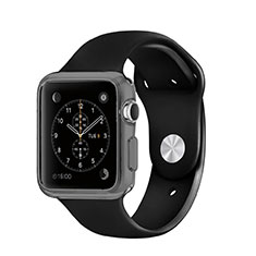 Silikon Hülle Handyhülle Ultra Dünn Schutzhülle Durchsichtig Transparent für Apple iWatch 3 42mm Grau
