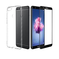 Silikon Hülle Handyhülle Ultra Dünn Schutzhülle Durchsichtig Transparent mit Schutzfolie für Huawei Enjoy 7S Schwarz