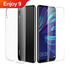 Silikon Hülle Handyhülle Ultra Dünn Schutzhülle Durchsichtig Transparent mit Schutzfolie für Huawei Enjoy 9 Klar