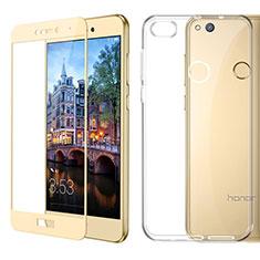 Silikon Hülle Handyhülle Ultra Dünn Schutzhülle Durchsichtig Transparent mit Schutzfolie für Huawei GR3 (2017) Gold