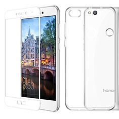 Silikon Hülle Handyhülle Ultra Dünn Schutzhülle Durchsichtig Transparent mit Schutzfolie für Huawei Honor 8 Lite Weiß
