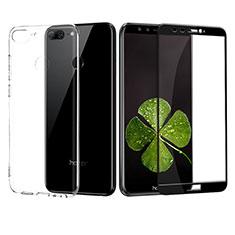 Silikon Hülle Handyhülle Ultra Dünn Schutzhülle Durchsichtig Transparent mit Schutzfolie für Huawei Honor 9 Lite Schwarz