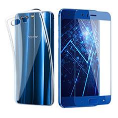 Silikon Hülle Handyhülle Ultra Dünn Schutzhülle Durchsichtig Transparent mit Schutzfolie für Huawei Honor 9 Premium Blau