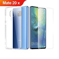 Silikon Hülle Handyhülle Ultra Dünn Schutzhülle Durchsichtig Transparent mit Schutzfolie für Huawei Mate 20 X 5G Klar