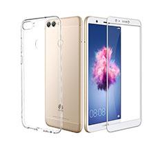 Silikon Hülle Handyhülle Ultra Dünn Schutzhülle Durchsichtig Transparent mit Schutzfolie für Huawei P Smart Weiß