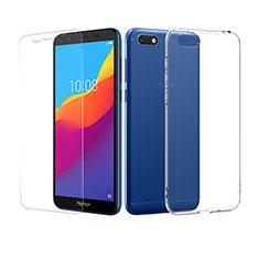 Silikon Hülle Handyhülle Ultra Dünn Schutzhülle Durchsichtig Transparent mit Schutzfolie für Huawei Y5 (2018) Klar