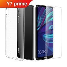 Silikon Hülle Handyhülle Ultra Dünn Schutzhülle Durchsichtig Transparent mit Schutzfolie für Huawei Y7 Prime (2019) Klar