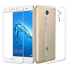 Silikon Hülle Handyhülle Ultra Dünn Schutzhülle Durchsichtig Transparent mit Schutzfolie für Huawei Y7 Prime Klar