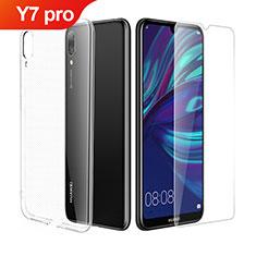 Silikon Hülle Handyhülle Ultra Dünn Schutzhülle Durchsichtig Transparent mit Schutzfolie für Huawei Y7 Pro (2019) Klar