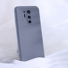 Silikon Hülle Handyhülle Ultra Dünn Schutzhülle Flexible 360 Grad Ganzkörper Tasche C02 für OnePlus 8 Pro Grau