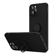 Silikon Hülle Handyhülle Ultra Dünn Schutzhülle Flexible Tasche Silikon mit Magnetisch Fingerring Ständer N01 für Apple iPhone 12 Pro Max Schwarz
