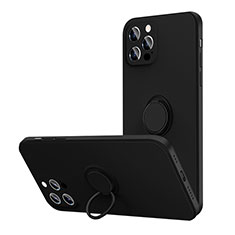 Silikon Hülle Handyhülle Ultra Dünn Schutzhülle Flexible Tasche Silikon mit Magnetisch Fingerring Ständer N01 für Apple iPhone 12 Pro Schwarz