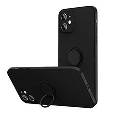 Silikon Hülle Handyhülle Ultra Dünn Schutzhülle Flexible Tasche Silikon mit Magnetisch Fingerring Ständer N01 für Apple iPhone 12 Schwarz
