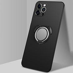 Silikon Hülle Handyhülle Ultra Dünn Schutzhülle Flexible Tasche Silikon mit Magnetisch Fingerring Ständer N02 für Apple iPhone 12 Pro Schwarz