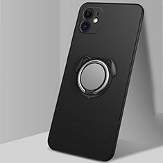 Silikon Hülle Handyhülle Ultra Dünn Schutzhülle Flexible Tasche Silikon mit Magnetisch Fingerring Ständer N02 für Apple iPhone 12 Schwarz