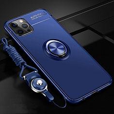 Silikon Hülle Handyhülle Ultra Dünn Schutzhülle Flexible Tasche Silikon mit Magnetisch Fingerring Ständer N03 für Apple iPhone 12 Pro Blau