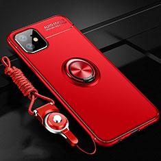 Silikon Hülle Handyhülle Ultra Dünn Schutzhülle Flexible Tasche Silikon mit Magnetisch Fingerring Ständer N03 für Apple iPhone 12 Rot
