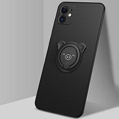 Silikon Hülle Handyhülle Ultra Dünn Schutzhülle Flexible Tasche Silikon mit Magnetisch Fingerring Ständer N04 für Apple iPhone 12 Schwarz
