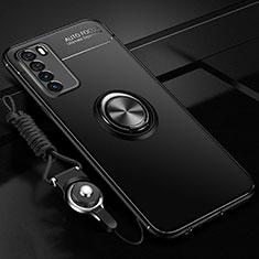 Silikon Hülle Handyhülle Ultra Dünn Schutzhülle Flexible Tasche Silikon mit Magnetisch Fingerring Ständer T01 für Huawei Honor Play4 5G Schwarz