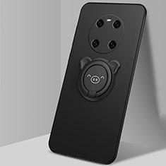 Silikon Hülle Handyhülle Ultra Dünn Schutzhülle Flexible Tasche Silikon mit Magnetisch Fingerring Ständer T01 für Huawei Mate 40 Schwarz