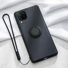 Silikon Hülle Handyhülle Ultra Dünn Schutzhülle Flexible Tasche Silikon mit Magnetisch Fingerring Ständer T01 für Huawei P40 Lite Schwarz