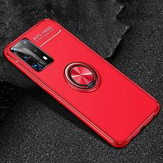 Silikon Hülle Handyhülle Ultra Dünn Schutzhülle Flexible Tasche Silikon mit Magnetisch Fingerring Ständer T01 für Huawei P40 Pro+ Plus Rot