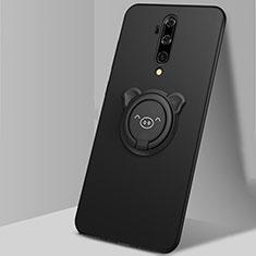Silikon Hülle Handyhülle Ultra Dünn Schutzhülle Flexible Tasche Silikon mit Magnetisch Fingerring Ständer T01 für OnePlus 7T Pro Schwarz