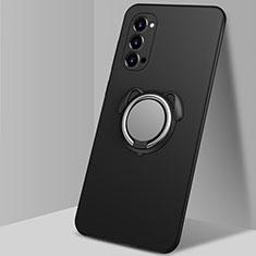 Silikon Hülle Handyhülle Ultra Dünn Schutzhülle Flexible Tasche Silikon mit Magnetisch Fingerring Ständer T01 für Oppo Reno4 Pro 5G Schwarz