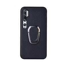 Silikon Hülle Handyhülle Ultra Dünn Schutzhülle Flexible Tasche Silikon mit Magnetisch Fingerring Ständer T01 für Xiaomi Mi Note 10 Schwarz