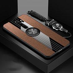 Silikon Hülle Handyhülle Ultra Dünn Schutzhülle Flexible Tasche Silikon mit Magnetisch Fingerring Ständer T01 für Xiaomi Redmi Note 8 Pro Braun
