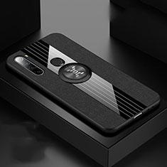 Silikon Hülle Handyhülle Ultra Dünn Schutzhülle Flexible Tasche Silikon mit Magnetisch Fingerring Ständer T01 für Xiaomi Redmi Note 8T Schwarz