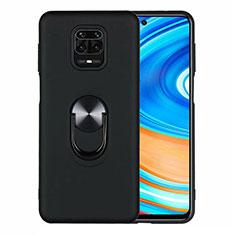 Silikon Hülle Handyhülle Ultra Dünn Schutzhülle Flexible Tasche Silikon mit Magnetisch Fingerring Ständer T01 für Xiaomi Redmi Note 9 Pro Schwarz
