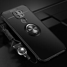 Silikon Hülle Handyhülle Ultra Dünn Schutzhülle Flexible Tasche Silikon mit Magnetisch Fingerring Ständer T01 für Xiaomi Redmi Note 9 Schwarz