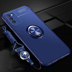 Silikon Hülle Handyhülle Ultra Dünn Schutzhülle Flexible Tasche Silikon mit Magnetisch Fingerring Ständer T02 für Huawei Honor 30 Lite 5G Blau
