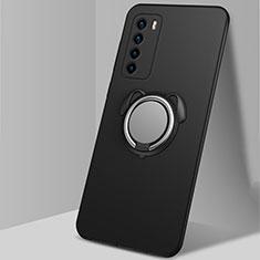 Silikon Hülle Handyhülle Ultra Dünn Schutzhülle Flexible Tasche Silikon mit Magnetisch Fingerring Ständer T02 für Huawei Honor Play4 5G Schwarz