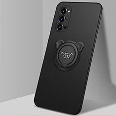 Silikon Hülle Handyhülle Ultra Dünn Schutzhülle Flexible Tasche Silikon mit Magnetisch Fingerring Ständer T02 für Oppo Reno4 5G Schwarz