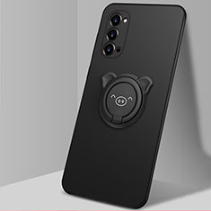 Silikon Hülle Handyhülle Ultra Dünn Schutzhülle Flexible Tasche Silikon mit Magnetisch Fingerring Ständer T02 für Oppo Reno4 Pro 5G Schwarz