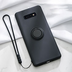 Silikon Hülle Handyhülle Ultra Dünn Schutzhülle Flexible Tasche Silikon mit Magnetisch Fingerring Ständer T02 für Samsung Galaxy S10e Schwarz