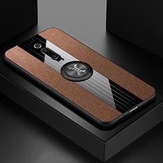 Silikon Hülle Handyhülle Ultra Dünn Schutzhülle Flexible Tasche Silikon mit Magnetisch Fingerring Ständer T02 für Xiaomi Mi 9T Pro Braun