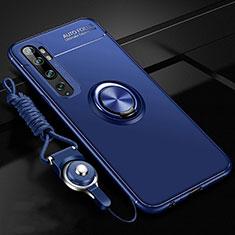 Silikon Hülle Handyhülle Ultra Dünn Schutzhülle Flexible Tasche Silikon mit Magnetisch Fingerring Ständer T02 für Xiaomi Mi Note 10 Blau