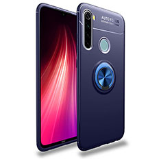 Silikon Hülle Handyhülle Ultra Dünn Schutzhülle Flexible Tasche Silikon mit Magnetisch Fingerring Ständer T02 für Xiaomi Redmi Note 8 Blau