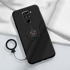 Silikon Hülle Handyhülle Ultra Dünn Schutzhülle Flexible Tasche Silikon mit Magnetisch Fingerring Ständer T02 für Xiaomi Redmi Note 9 Schwarz