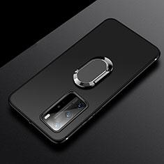 Silikon Hülle Handyhülle Ultra Dünn Schutzhülle Flexible Tasche Silikon mit Magnetisch Fingerring Ständer T03 für Huawei P40 Pro Schwarz
