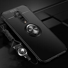 Silikon Hülle Handyhülle Ultra Dünn Schutzhülle Flexible Tasche Silikon mit Magnetisch Fingerring Ständer T03 für OnePlus 7T Pro Schwarz