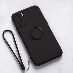 Silikon Hülle Handyhülle Ultra Dünn Schutzhülle Flexible Tasche Silikon mit Magnetisch Fingerring Ständer T03 für Oppo Find X2 Lite Schwarz