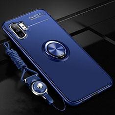 Silikon Hülle Handyhülle Ultra Dünn Schutzhülle Flexible Tasche Silikon mit Magnetisch Fingerring Ständer T03 für Samsung Galaxy Note 10 Plus 5G Blau