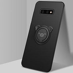 Silikon Hülle Handyhülle Ultra Dünn Schutzhülle Flexible Tasche Silikon mit Magnetisch Fingerring Ständer T03 für Samsung Galaxy S10e Schwarz